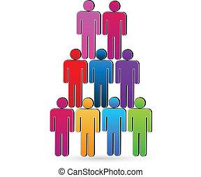 concetto, networking, persone, unità, vettore, lavoro squadra, sociale, icona