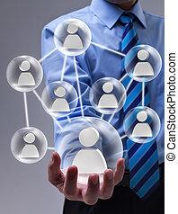 concetto, networking, speheres, vetro, collegato, sociale