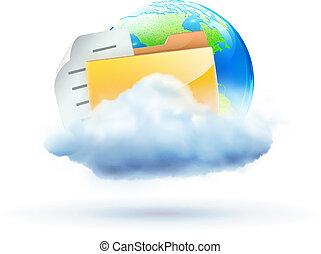 concetto, nuvola, icona