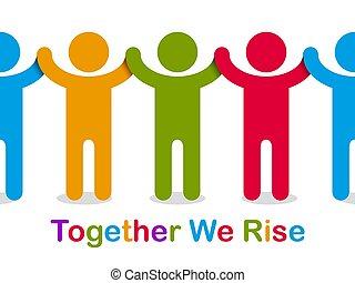 concetto, o, amicizia, illustrazione, stare in piedi, noi,...