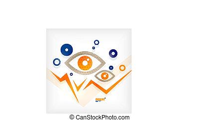 concetto, occhio, astratto, vettore, moderno