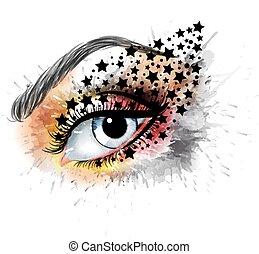 concetto, occhio, bellezza, trucco, creativo, moda, stelle, grunge
