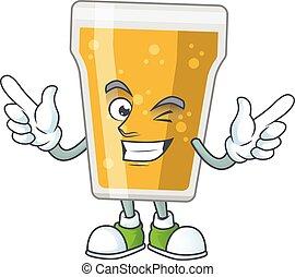 concetto, occhio, cartone animato, ammicco, carino, birra, esposizione, tazza, disegno