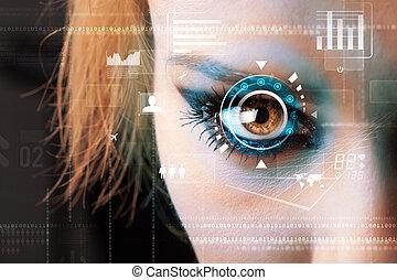 concetto, occhio donna, cyber, futuro, tecnologia, pannello