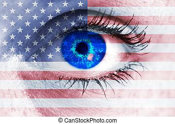 concetto, occhio, stati uniti, visore, occhiate, bandiera