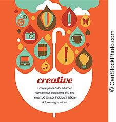 concetto, ombrello, -, idea, creativo, disegno