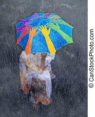 concetto, ombrello, rete, lei, &, bambino, madre, monsone, ...
