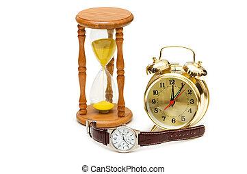 concetto, ora, orologio, orologio, vetro, tempo