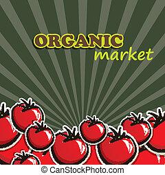 concetto, organico, tomatoes., cibo, illustrazione, vettore