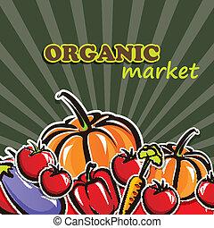 concetto, organico, vegetables., cibo, illustrazione, vettore
