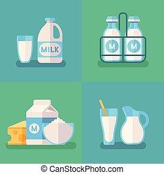 concetto, organico, vettore, prodotti, fondo, fresco, latteria, latte