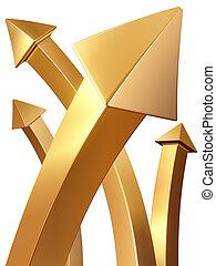 concetto, oro, indicare, valore, freccia