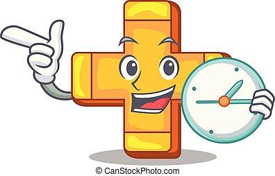 concetto, orologio, segno, salute, più, logotipo, cartone animato