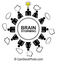 concetto, ottenere, idea, lavoro squadra, brainstorming, discutere