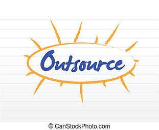 concetto, outsourcing, illustrazione
