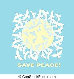 concetto, pace, cielo, illustrazione, vettore, colomba