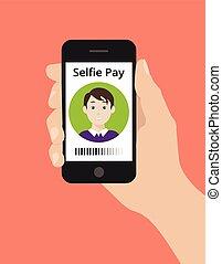 concetto, pagare, selfie, mano, telefono, presa, far male