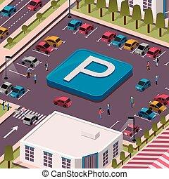 concetto, parcheggio