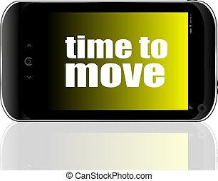 concetto, parola, affari, mostra, spostare, smartphone, tempo