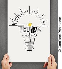 concetto, parola, affari, mostrare manifesto, mano, disegno, presa a terra, luce, disegnato, pensare, bulbo