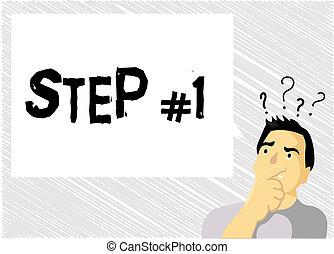 concetto, parola, affari, testo, fare, scrittura, inizio, passo, iniziazione, progettato, progresso, strategia, inizio, 1.