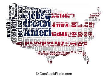 concetto, parola, americano, fondo, bianco, sogno, nuvola