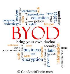 concetto, parola, byod, nuvola