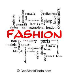 concetto, parola, cappucci, moda, nuvola, rosso