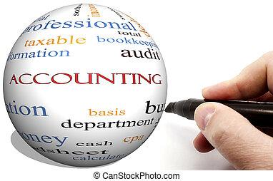 concetto, parola,  cirlce, mano, contabilità, scrittura