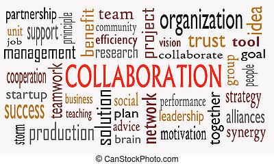 concetto, parola, collaborazione, -, isolato, illustrazione, fondo, nube bianca