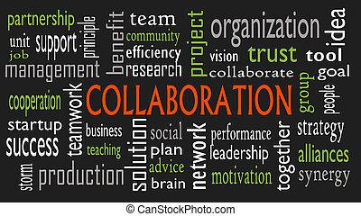 concetto, parola, collaborazione, -, isolato, illustrazione, sfondo nero, nuvola