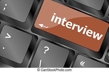 concetto, parola, computer, intervista, tastiera, educazione