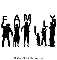 concetto, parola, famiglia, genitori, presa a terra, lettere, bambini