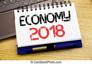concetto, parola, finanza, ufficio, legno, parola, laptop, quaderno, scrittura, affari, scritto, libro, piano, fondo, 2018., futuro, economia
