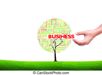 concetto, parola, forma, affari, albero, isolato, mano, fondo, scegliere, nube bianca