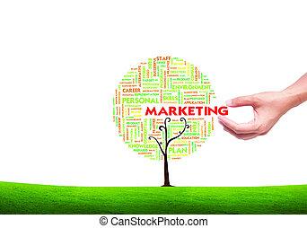 concetto, parola, forma, affari, marketing, albero, isolato, mano, fondo, scegliere, nube bianca