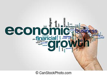 concetto, parola, grigio, Economico, crescita, fondo, nuvola