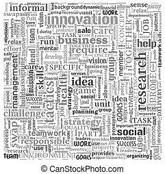 concetto, parola, idea affari, etichetta, fondo, nube bianca