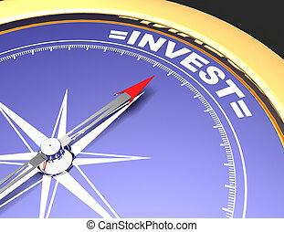 concetto, parola, indicare, investire, astratto, ago, bussola, invest.