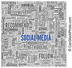 concetto, parola, media, etichetta, fondo, sociale, nube bianca