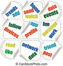 concetto, parola, media, etichetta, sociale, adesivi, nuvola