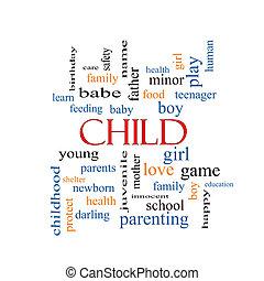 concetto, parola, nuvola, bambino