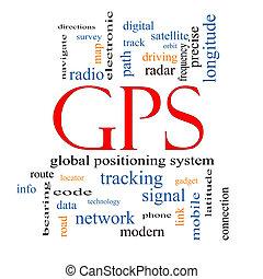 concetto, parola, nuvola,  GPS