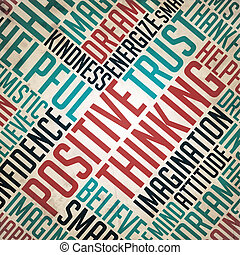 concetto, parola, pensare, positivo, collage., -, grunge