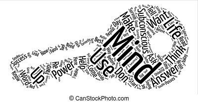 concetto, parola, potere, testo, mente, subconscio, fondo, tuo, nuvola