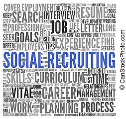 concetto, parola, reclutamento, etichetta, fondo, sociale, nube bianca