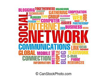 concetto, parola, rete, isolato, fondo, sociale, bianco