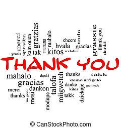 concetto, parola, ringraziare, cappucci, nuvola, lei, rosso
