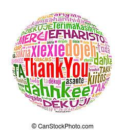 concetto, parola, ringraziare, molti, lingue, lei, world.