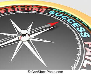 concetto, parola, success., indicare, astratto, ago, successo, bussola